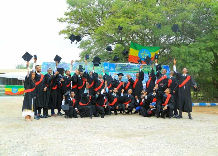Äthiopische Studenten feiern ihren Abschluss