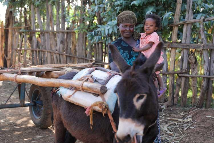 Mutter mit kleinem Kind im Arm und einem Esel in Äthiopien