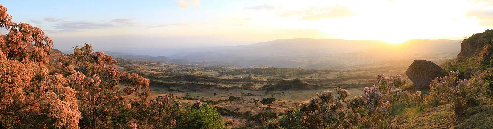 Sonnenuntergang im Washa Catchment in Äthiopien