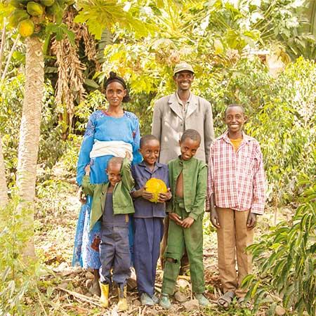 Familie in Äthiopien inmitten ihres Gemüsefeldes