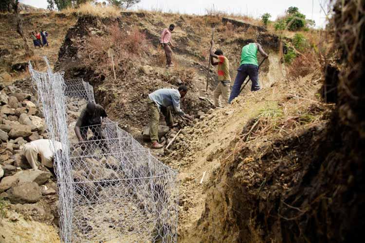 Männer in Äthiopien arbeiten in einem Erosionsgraben